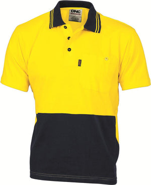 DNC Workwear-DNC HiVis Cool-Breeze Cotton Jersey S/S Polo Shirt with Under Arm Cotton Mesh-XS / Yellow/Navy-Uniform Wholesalers - 4