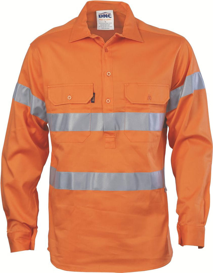 DNC HiVis Close Front L/S  Gusset Sleeve Cotton Drill Shirt with 3M R/T (3848)