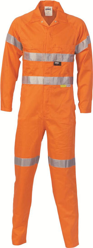 DNC Workwear-DNC HiVis Cotton Coverall with 3M 8910 R/Tape > 311 gsm Heavyweight-77R / Orange-Uniform Wholesalers