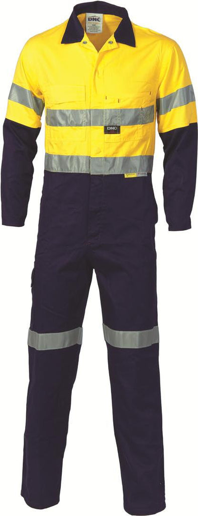DNC Workwear-DNC HiVis Two Tone Cotton Coverall with 3M 8910 R/Tape > 311 gsm Heavyweight-77R / Yellow/Navy-Uniform Wholesalers - 2