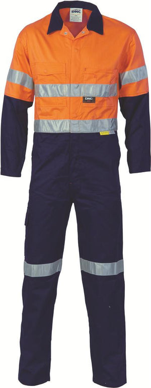 DNC Workwear-DNC HiVis Two Tone Cotton Coverall with 3M 8910 R/Tape > 311 gsm Heavyweight-82R / Orange/Navy-Uniform Wholesalers - 1