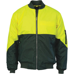 DNC Workwear-DNC HiVis Two Tone Flying Jacket > 300D-S / Yellow/Bottle Green-Uniform Wholesalers - 2