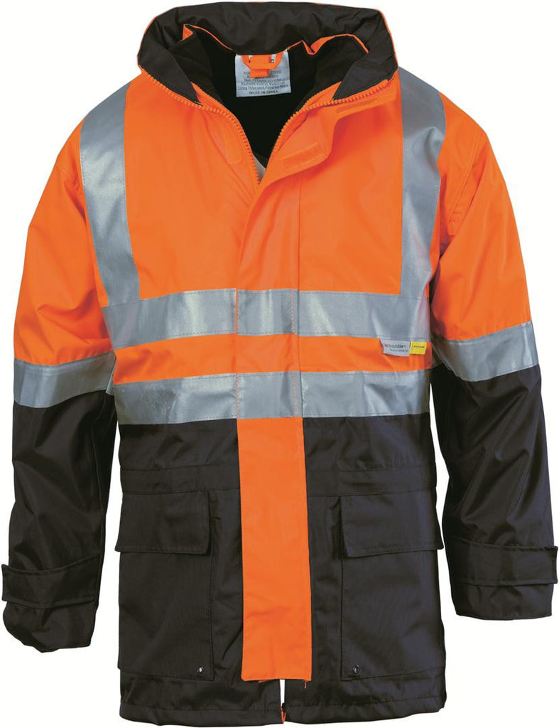DNC Workwear-DNC HiVis 4 in 1 Two Tone Breathable Jacket with Vest and 3M R/Tape-Orange/Navy / M-Uniform Wholesalers - 4