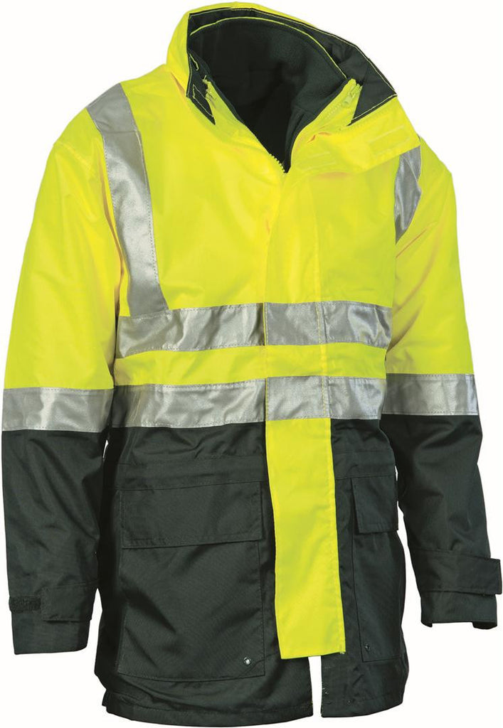 DNC Workwear-DNC HiVis 4 in 1 Two Tone Breathable Jacket with Vest and 3M R/Tape-Yellow/Bottle Green / S-Uniform Wholesalers - 3