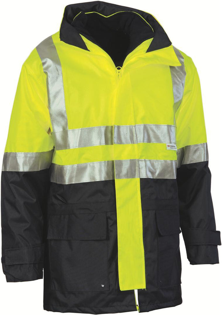 DNC Workwear-DNC HiVis 4 in 1 Two Tone Breathable Jacket with Vest and 3M R/Tape-Yellow/Navy / M-Uniform Wholesalers - 2