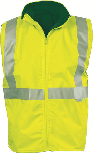 DNC Workwear-DNC HiVis Reversible Vest and 3M R/Tape > 300D-Yellow/Bottle Green / S-Uniform Wholesalers - 3