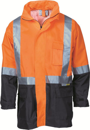 DNC Workwear-DNC HiVis Two Tone Lightweight Rain Jacket with 3M R/Tape > 190D-S / Orange/Navy-Uniform Wholesalers - 3