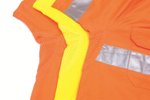 DNC Workwear-DNCHiVis Two Tone Cool-Breeze Cotton Shirt with 3M Reflective Tape, S/S--Uniform Wholesalers - 1
