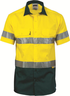 DNC Workwear-DNCHiVis Two Tone Cool-Breeze Cotton Shirt with 3M Reflective Tape, S/S-Yellow/Bottle Green / S-Uniform Wholesalers - 3