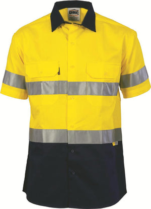 DNC Workwear-DNCHiVis Two Tone Cool-Breeze Cotton Shirt with 3M Reflective Tape, S/S-Yellow/Navy / S-Uniform Wholesalers - 4