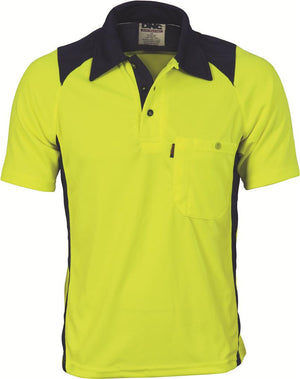 DNC Workwear-DNC HiVis Two Tone Action Polo S/S > 175 gsm Polyester Micromesh-Yellow/Navy / XS-Uniform Wholesalers - 3