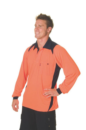 DNC Workwear-DNC HiVis Two Tone Action Polo L/S > 175 gsm Polyester Micromesh--Uniform Wholesalers - 1