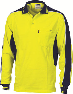 DNC Workwear-DNC HiVis Poly/Cotton Contrast Panel Polo, L/S > 200 gsm Poly/Cotton-XS / Yellow/Navy-Uniform Wholesalers - 3