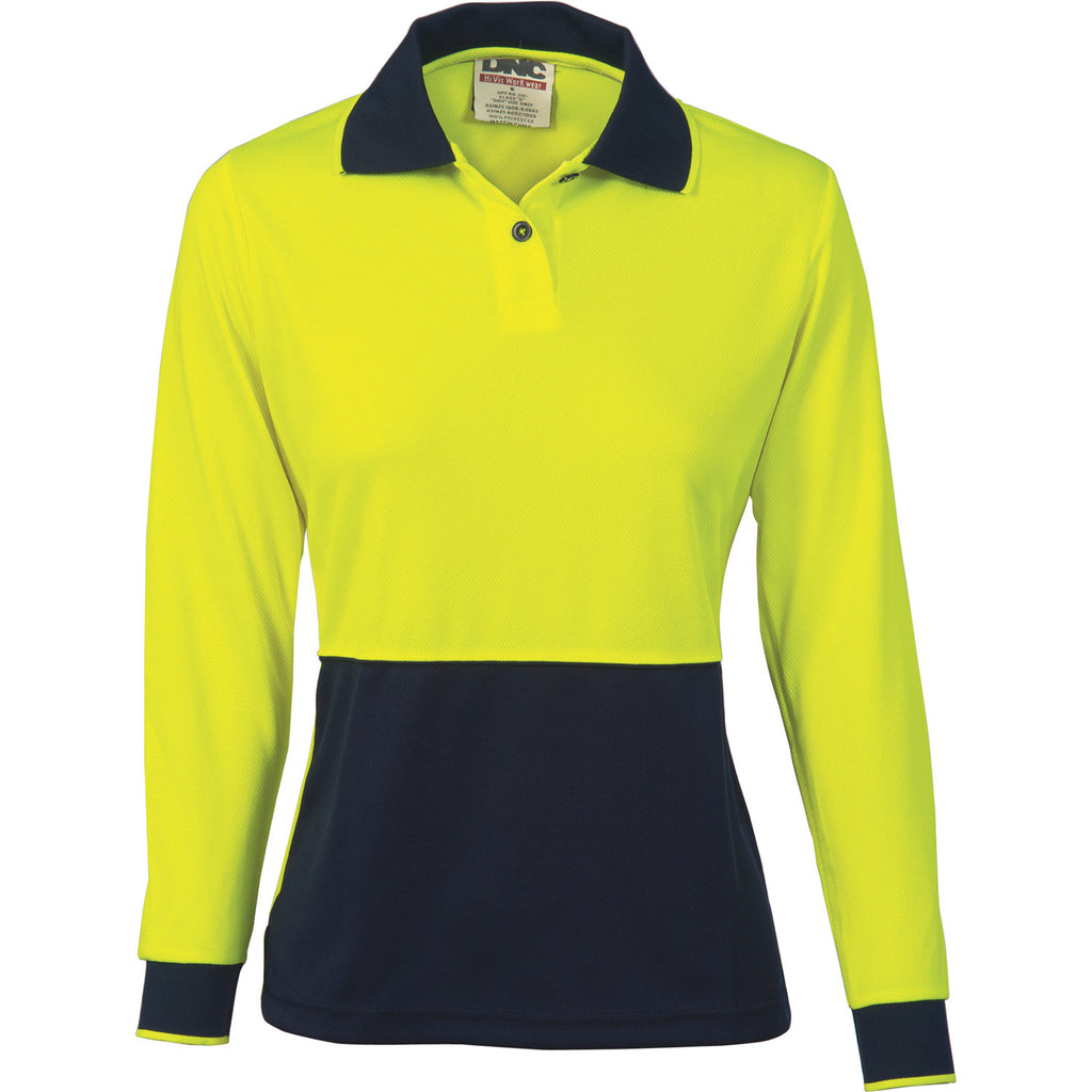 DNC Workwear-DNC Ladies HiVis Two Tone Polo Shirt - Long Sleeve-8 / Yellow/Navy-Uniform Wholesalers - 1