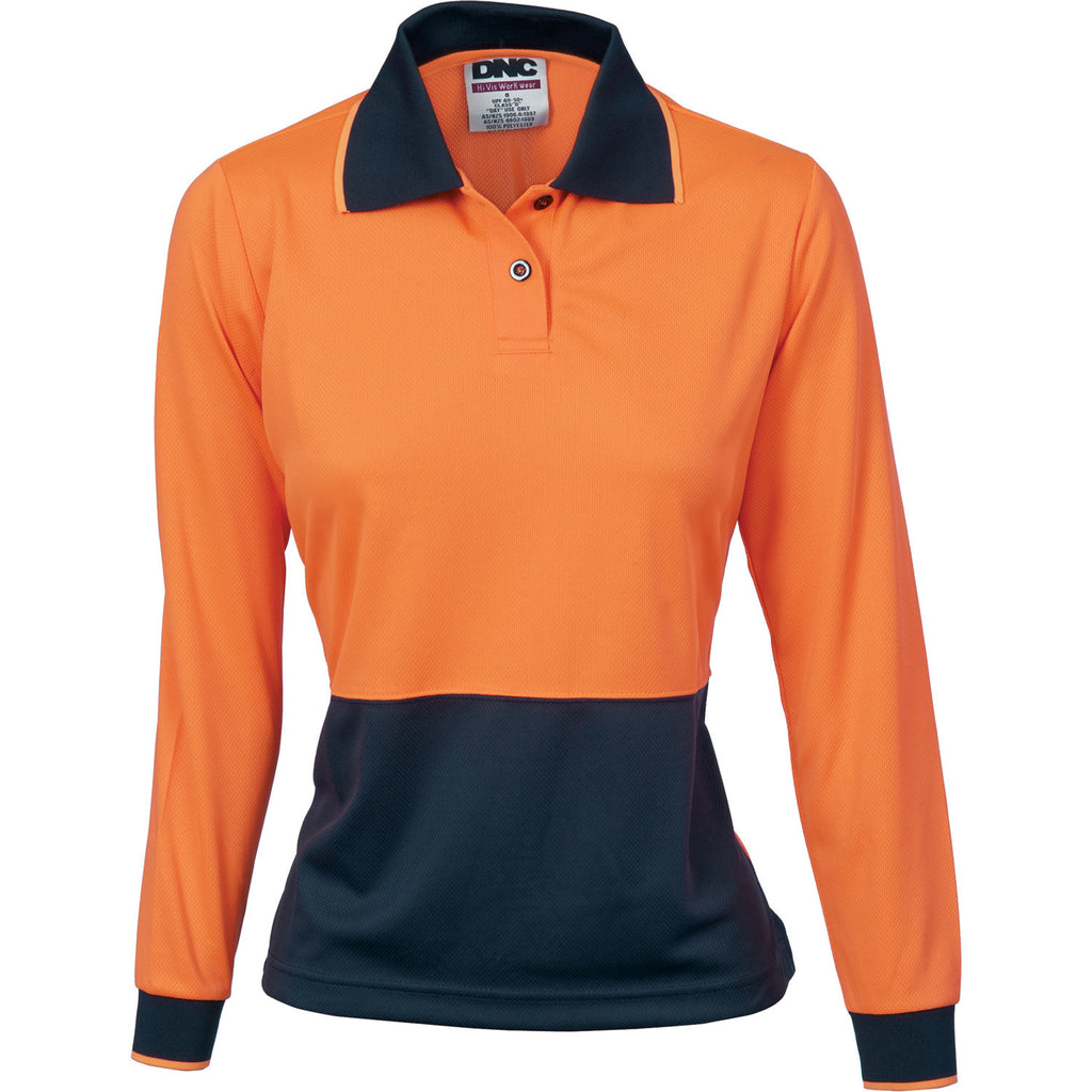 DNC Workwear-DNC Ladies HiVis Two Tone Polo Shirt - Long Sleeve-8 / Orange/Navy-Uniform Wholesalers - 2