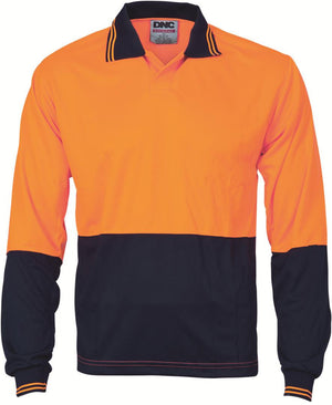 DNC Workwear-DNC HiVis Food Industry Polo, Long Sleeve-Orange/Navy / S-Uniform Wholesalers - 1