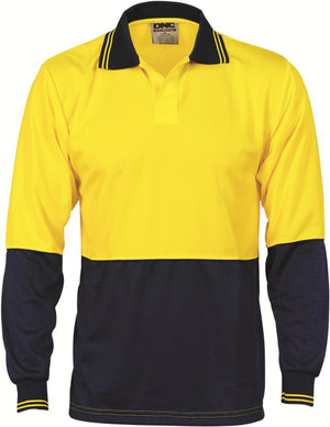 DNC Workwear-DNC HiVis Food Industry Polo, Long Sleeve-Yellow/Navy / S-Uniform Wholesalers - 2