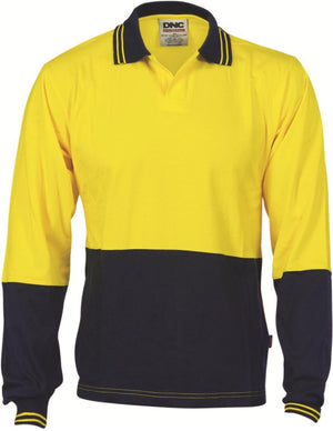DNC Workwear-DNC HiVis Cool Breeze Cotton Jersey L/S Food Industry Polo-XS / Yellow/Navy-Uniform Wholesalers - 2