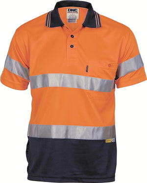 DNC Workwear-DNC HiVis Mircomesh Polo Shirt with 3M Reflective Tape -S/S > 175 gsm Polyester Micromesh-Orange/Navy / S-Uniform Wholesalers - 1