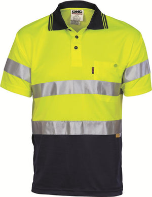 DNC Workwear-DNC HiVis Mircomesh Polo Shirt with 3M Reflective Tape -S/S > 175 gsm Polyester Micromesh-Yellow/Navy / XS-Uniform Wholesalers - 2