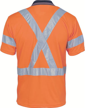 DNC Workwear-DNC HiVis D/N Cool Breathe Polo Shirt with Cross Back R/Tape - Short Sleeve--Uniform Wholesalers - 1