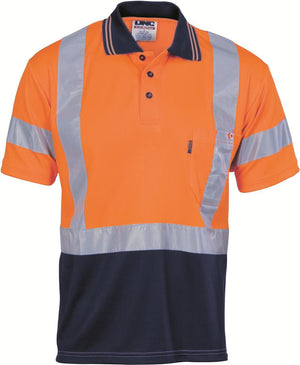 DNC Workwear-DNC HiVis D/N Cool Breathe Polo Shirt with Cross Back R/Tape - Short Sleeve-Orange/Navy / XS-Uniform Wholesalers - 2