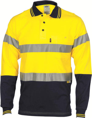 DNC Workwear-DNC HiVis Cool-Breeze Cotton Jersey L/S Polo with 3M R/T-M / Yellow/Navy-Uniform Wholesalers - 2