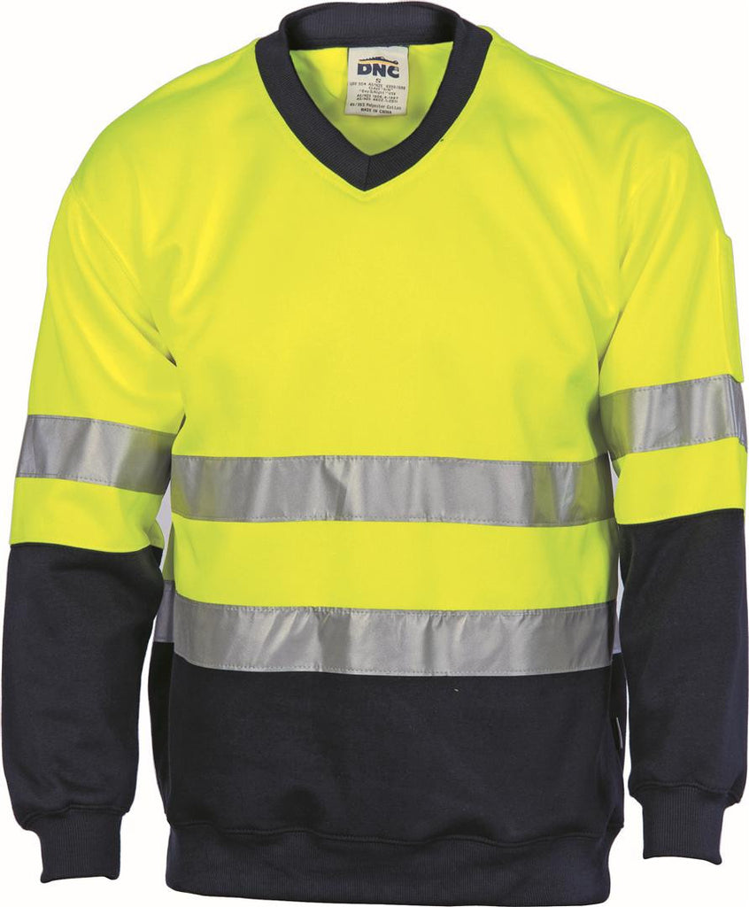 DNC Workwear-DNC HiVis Fleecy Sweat Shirt W/Generic Ref. Tape V-Neck-Yellow/Navy / XS-Uniform Wholesalers - 2