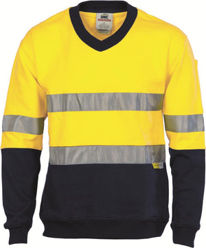 DNC Workwear-DNC HiVis Two Tone Cotton Fleecy Sweat Shirt, V-Neck with 3M R/T-XS / Yellow/Navy-Uniform Wholesalers - 2