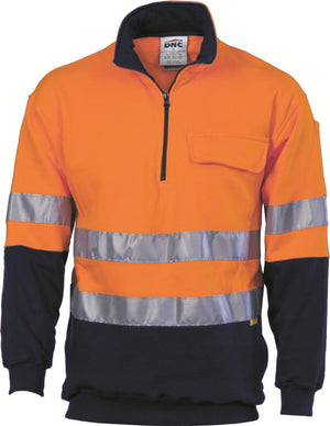DNC Workwear-DNC HiVis Two Tone 1/2 Zip Cotton Fleecy Windcheater with 3M R/T-XS / Orange/Navy-Uniform Wholesalers - 1