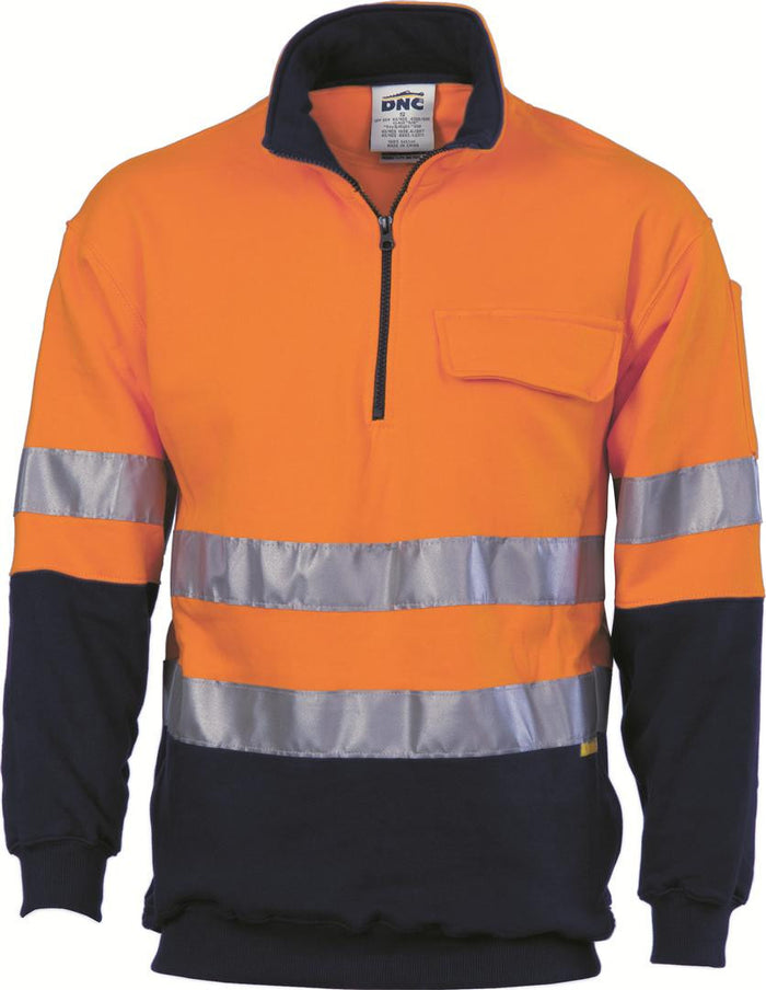 DNC HiVis Two Tone 1/2 Zip Cotton Fleecy Windcheater with 3M R/T (3925)