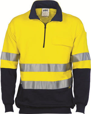 DNC Workwear-DNC HiVis Two Tone 1/2 Zip Cotton Fleecy Windcheater with 3M R/T-XS / Yellow/Navy-Uniform Wholesalers - 2