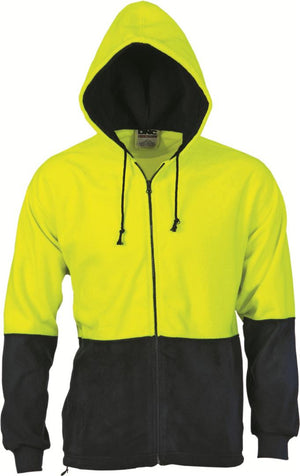 DNC Workwear-DNC HiVis Two Tone Full Zip Polar Fleece Hoodie-XS / Yellow/Navy-Uniform Wholesalers - 1