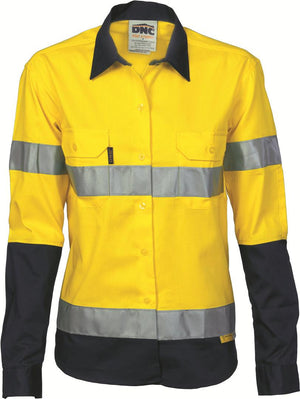 DNC Workwear-DNC Ladies HiVis Two Tone Drill L/S Shirt with 3M R/T-10 / Yellow/Navy-Uniform Wholesalers - 2