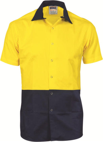 DNC Workwear-DNC HiVis Food Industry Cool-Breeze Cotton Shirt - Short Sleeve-XS / Yellow/Navy-Uniform Wholesalers - 1
