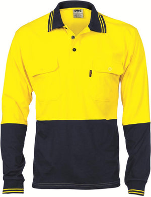 DNC Workwear-DNC HiVis Cool-Breeze 2 Tone L/S Cotton Polo with Twin Pocket-Yellow/Navy / XS-Uniform Wholesalers - 2