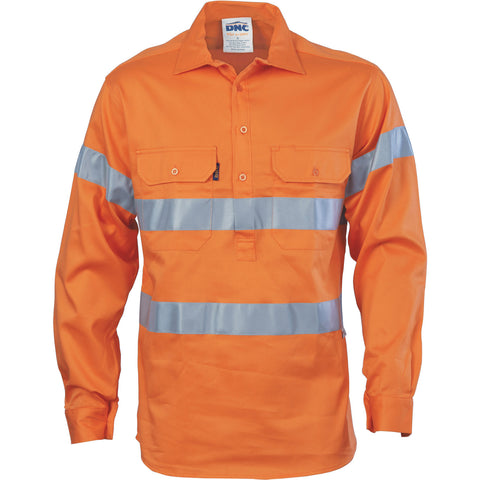 DNC Workwear-DNC HiVis Cool-Breeze Close Front Cotton Shirt with Generic R/Tape-S / Orange-Uniform Wholesalers