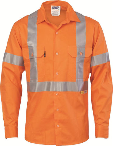 DNC Workwear-DNC HiVis Cool-Breeze L/S Cotton Shirt with Cross Back 3M R/T-XL / Orange-Uniform Wholesalers - 1