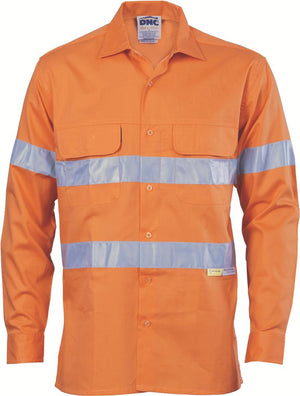 DNC Workwear-DNC HiVis 3 Way Cool Breeze L/S Cotton Shirt with 3M RT-XS / Orange-Uniform Wholesalers