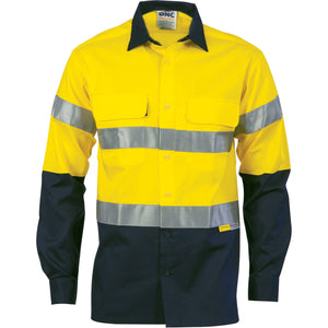 DNC Workwear-DNC HiVis Cool-Breeze L/S Cotton Shirt with 3M Value R/T-S / Yellow/Navy-Uniform Wholesalers - 3