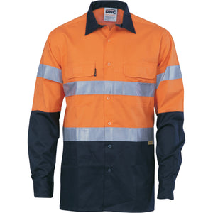 DNC Workwear-DNC HiVis Cool-Breeze L/S Cotton Shirt with 3M Value R/T-S / Orange/Navy-Uniform Wholesalers - 2