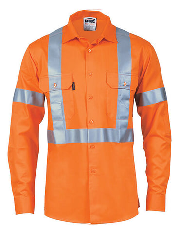 DNC HiVis D/N Cotton Shirt with Cross Back Generic R/Tape - long sleeve (3989)