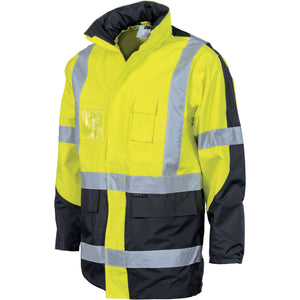 "DNC Workwear-DNC HiVis 2 Tone Cross Back ""2 in 1"" Contrast Rain Jacket-Yellow/Navy / XL-Uniform Wholesalers - 2"