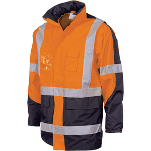 "DNC Workwear-DNC HiVis 2 Tone Cross Back ""2 in 1"" Contrast Rain Jacket-Orange/Navy / M-Uniform Wholesalers - 3"