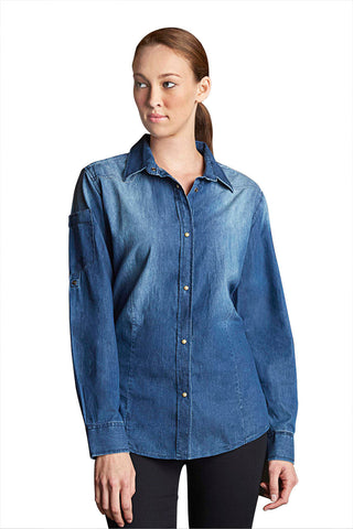 Chef Works-Chef Works Ladies Trenton L/S Denim Shirt-Indigo Blue / XS-Uniform Wholesalers - 1