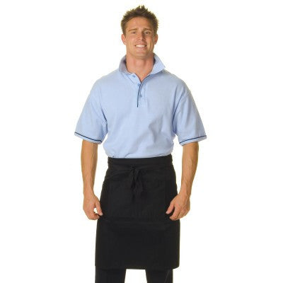 DNC Workwear-DNC Poly/Cotton Half (1/2) Apron No Pocket-0 / Black-Uniform Wholesalers