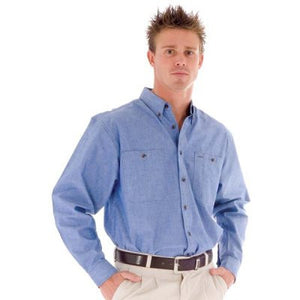 DNC Workwear-DNC Cotton Chambray L/S Shirt with Twin Pocket--Uniform Wholesalers - 2