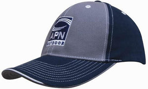 Headwear-Headwear Brushed Heavy Cotton Two Tone Cap with Contrasting Stitching and Open Lip Sandwich-Charcoal/Navy-Uniform Wholesalers - 3
