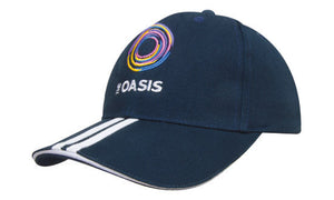 Headwear-Headwear Brushed Heavy Cotton with Two Striped Peak and Sandwich--Uniform Wholesalers - 1