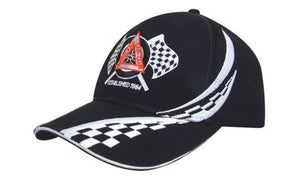 Headwear-Headwear Brushed Heavy Cotton with Swirling Checks & Sandwich Cap-Black/White-Uniform Wholesalers - 1